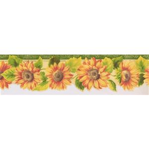 Norwall Prepasted Orange and Yellow Sunflowers Wallpaper