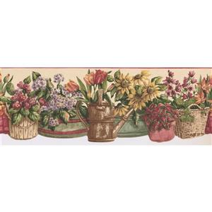 Norwall Prepasted Floral Wallpaper - Yellow/Pink