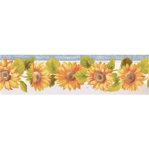 Norwall Prepasted Orange and Yellow Sunflowers Wallpaper - Silver
