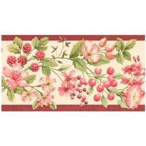 Norwall Prepasted Berries and Flowers Wallpaper - Pink/Orange