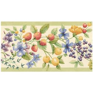 Norwall Prepasted Berries Wallpaper - Blue/Yellow