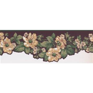York Wallcoverings Prepasted Meriglod White Flowers on Vine Wallpaper