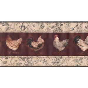 York Wallcoverings Prepasted Rooster and Hen Wallpaper Border - White