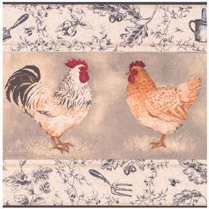 York Wallcoverings Prepasted Rooster and Hen Wallpaper Border - Beige