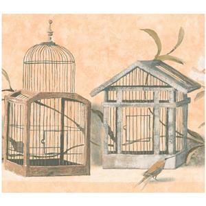York Wallcoverings Prepasted Birds and Cages Wallpaper - Butterscotch