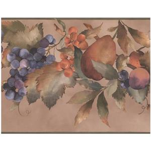 York Wallcoverings Prepasted Grapes and Pear Wallpaper - Purple/Pink