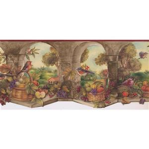 Norwall Prepasted Bird and Fruit Basket Country Wallpaper