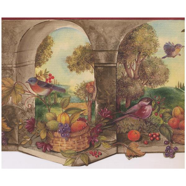 Norwall Prepasted Bird And Fruit Basket Country Wallpaper Lowe S