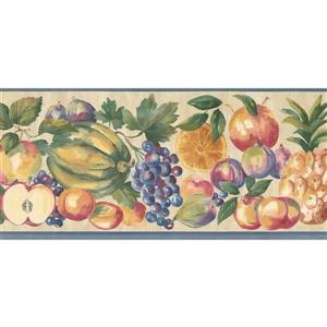 Norwall Prepasted Fruits and Vegetables Wallpaper - Beige