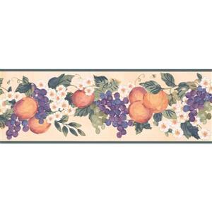 York Wallcoverings Prepasted Painted Wallpaper Border - Orange/Purple