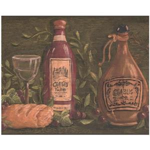 York Wallcoverings Prepasted French Wine Bottles and Cheese Wallpaper