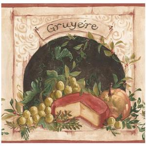 York Wallcoverings Prepasted  Cheese and Grapes Wallpaper - Beige