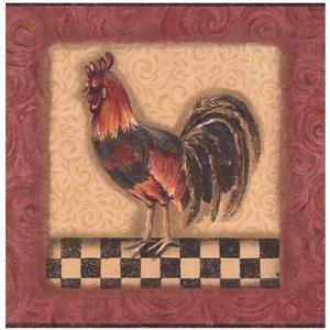 York Wallcoverings Prepasted Roosters in Squares Wallpaper - Maroon