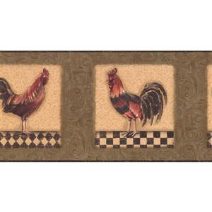 York Wallcoverings Prepasted Roosters in Squares Wallpaper - Green