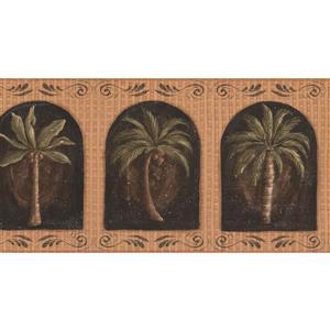 York Wallcoverings Prepasted Palm Trees in Windows Merigold Wallpaper