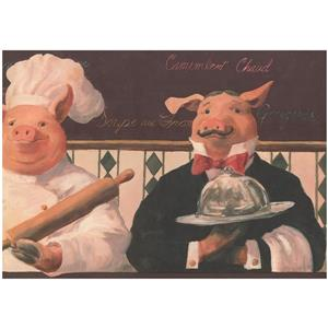 York Wallcoverings Prepasted Pigs and Chef Vintage Wallpaper