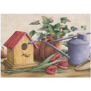 Norwall Prepasted Flowers in Pots and Birdhouse Wallpaper