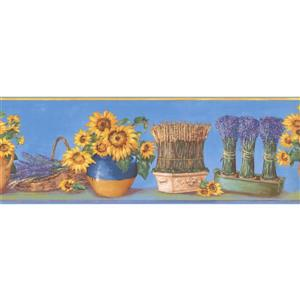 Norwall Prepasted Sunflowers in Pots Wallpaper - Lavender