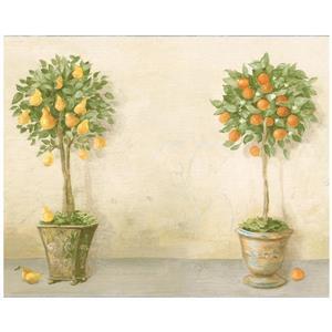Norwall Prepasted Fruit Trees in Pots Vintage Wallpaper