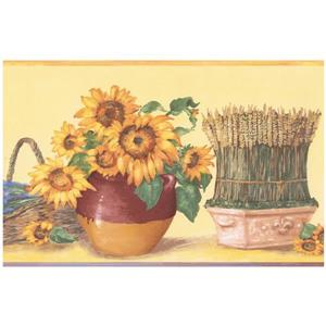 Norwall Prepasted Sunflower in Pots Wallpaper - Lavender