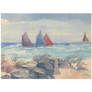 Norwall Prepasted Sandy Beach and Sail Boats Wallpaper