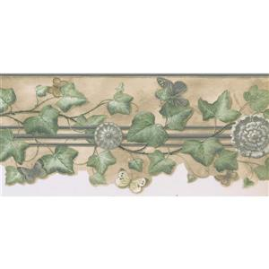 Norwall Prepasted Leaves and Butterflies Wallpaper - Green