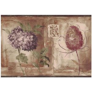 Norwall Prepasted Painted Vintage Flowers Wallpaper - Purple
