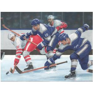 York Wallcoverings Prepasted Hockey Players on the Move Wallpaper