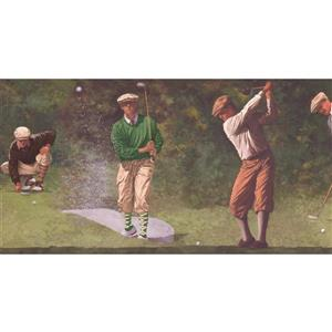 York Wallcoverings Prepasted Vintage Golf Players Wallpaper