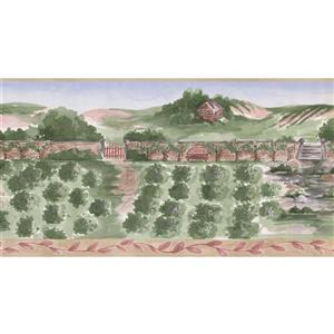 Norwall Prepasted Painted Blueberry Farm Cottage Wallpaper