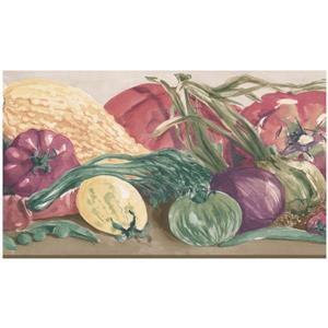 Norwall Prepasted Painted Tomato and Eggplant Wallpaper