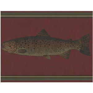 York Wallcoverings Prepasted Floating Fish Wallpaper Border - Maroon