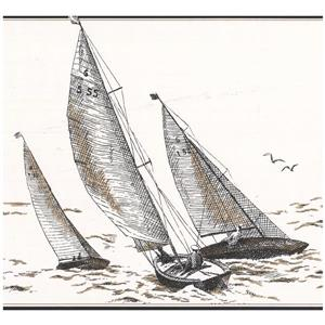 York Wallcoverings Prepasted Sail boats in Sea Sketch Wallpaper - Ivory