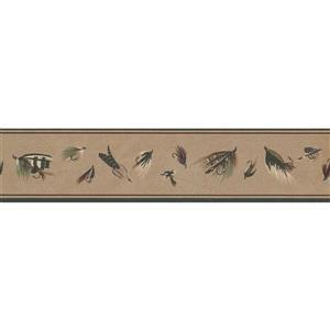 York Wallcoverings Prepasted Fishing Lures Sepia Wallpaper - Brown