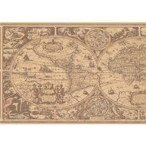 York Wallcoverings Prepasted Sail boats in Sea Sketch Wallpaper - Beige