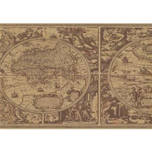 York Wallcoverings Prepasted Mediaval World Map Wallpaper - Purple