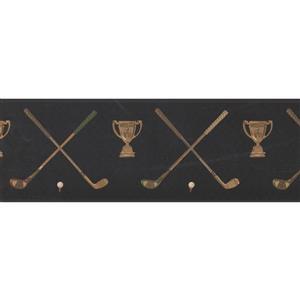 York Wallcoverings Prepasted Golf Club Balls on Tee Wallpaper