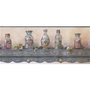 Norwall Prepasted Shelf and Herbal Oil Wallpaper - Grey