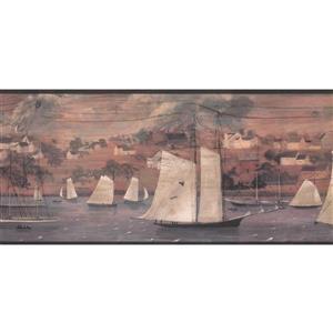 York Wallcoverings Prepasted Village by Lake and Ships Wallpaper