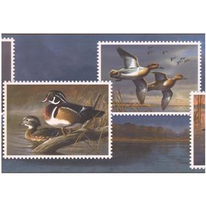 Retro Art Prepasted Ducks on Postcards Wallpaper