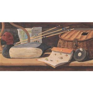 York Wallcoverings Prepasted Fishing Rod and Basket Vintage Wallpaper