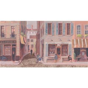 York Wallcoverings Prepasted Vintage City Shops and Café Wallpaper