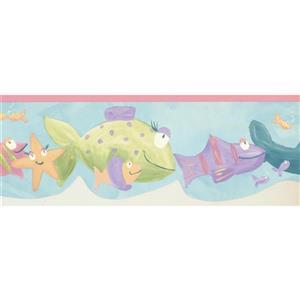 Norwall Prepasted Kids Painted Fish Wallpaper - Blue