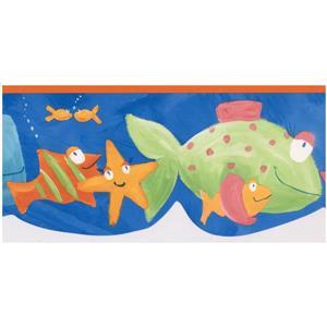 Norwall Prepasted Kids Painted Fish Wallpaper - Cobalt Blue