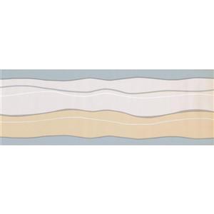 Norwall Prepasted Wavy Wallpaper Border - Beige/Grey