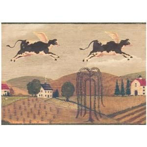 Chesapeake Prepasted Flying Cow Over Village Wallpaper