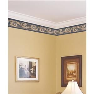 Norwall Prepasted Damask Vine Wallpaper - Beige/Blue