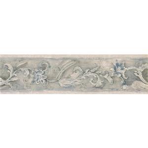Norwall Prepasted Baroque Scroll Flower Wallpaper - Blue