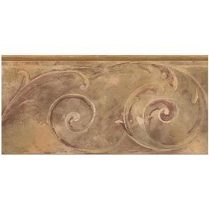 Norwall Prepasted Damask Scroll Wallpaper - Brown