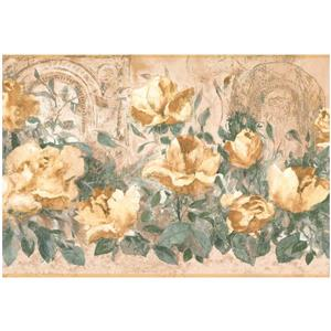 York Wallcoverings Prepasted Roses Wallpaper Border - Vintage Yellow